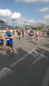 Me at 22 miles running towards Niko and David (Basil was at home with my mum).