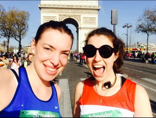 Lucia and Gilly at the Paris Marathon start, April 2015