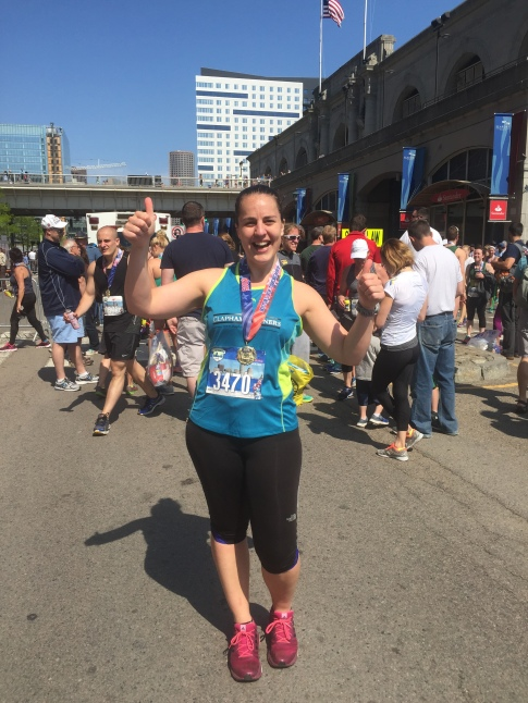 Siobhan at the Boston Half Marathon finish, May 2015