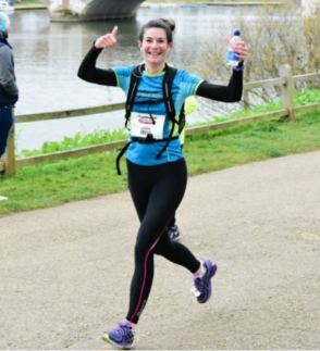 Laura, 3 miles out from her half marathon PB, Hampton Court, February 2016