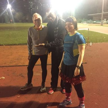 Congratulations Frank! Winner of the CR club place for the London Marathon 2016, pictured with coach Jon and Santa's helped Hannah
